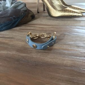 💎2 for $15💎Grey/Blue Leather and Gold Chain Cuff